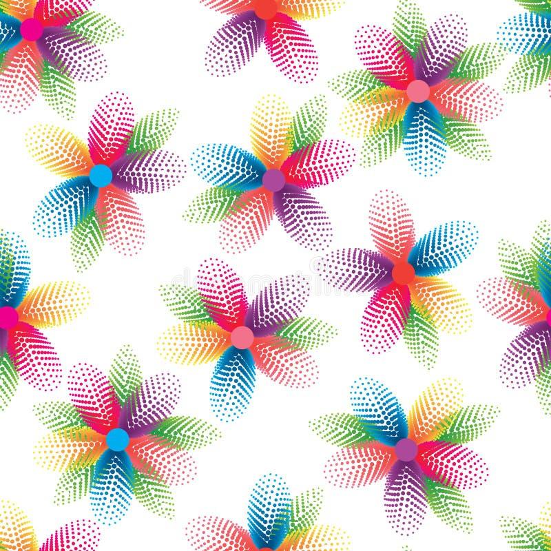 Van het het bloemblaadjeblad van de cirkel halftone bloem kleurrijke naadloze patroon royalty-vrije illustratie