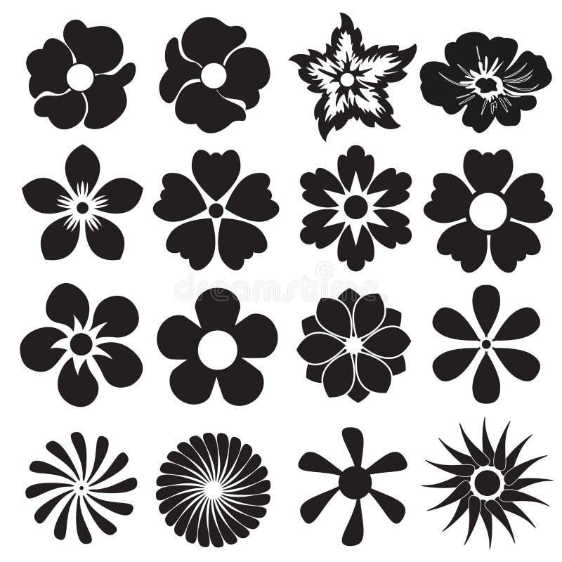 Van het bloempictogram of teken reeks Vector ontwerpelementen stock illustratie