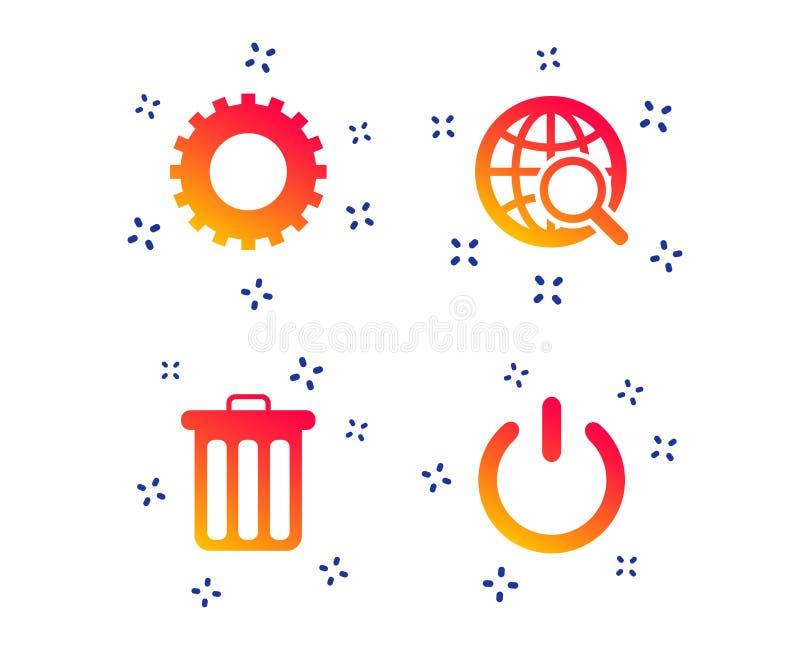 Van het bol meer magnifier glas en toestel tekens Vector stock illustratie