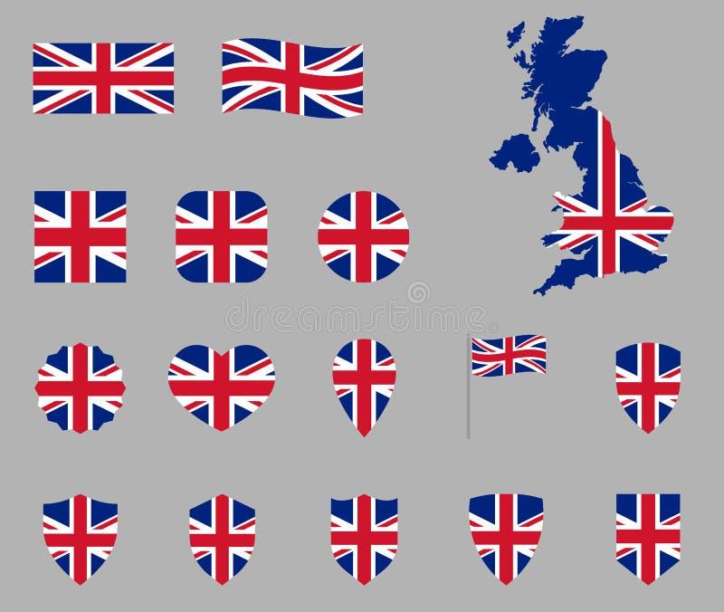van het Britse de reeks vlagpictogram, Britse vlagpictogrammen, vlag van het Verenigd Koninkrijk - Union Jack vector illustratie