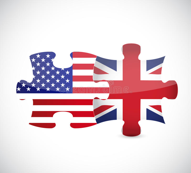Van het Britse het ontwerp van de de stukkenillustratie de vlagraadsel van de V.S. en vector illustratie