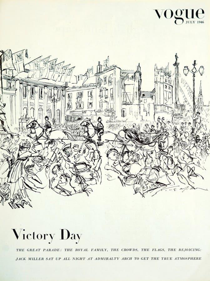 van het Britse Vogue de illustratie van Victory Day maniertijdschrift, van uitgave gedateerd Juli 1946 stock foto