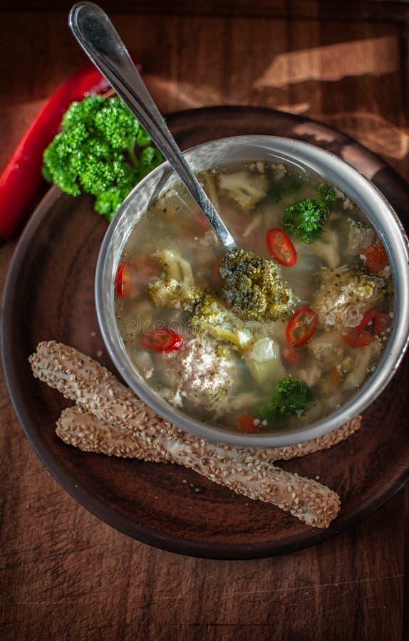 Van het broccolisoep en vlees bollen royalty-vrije stock foto's