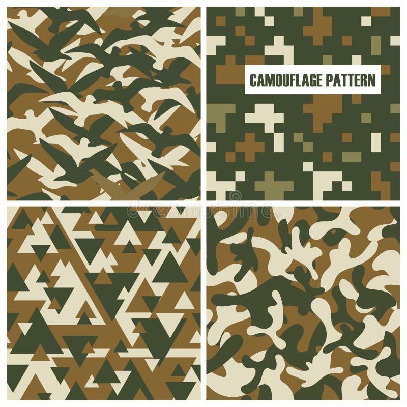 Van het camouflagepatroon naadloze illustratie als achtergrond Militaire textuur stock illustratie