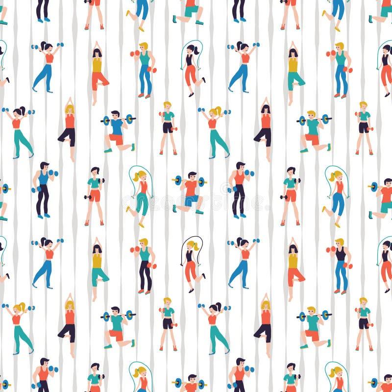Van het het centrum de naadloze patroon van de traininggeschiktheid vectorillustratie De achtergrond van de sportclub royalty-vrije illustratie