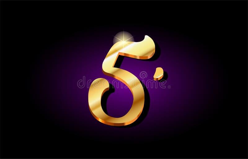 5 van het het cijfer gouden 3d embleem van het vijf aantalcijfer het pictogramontwerp royalty-vrije illustratie