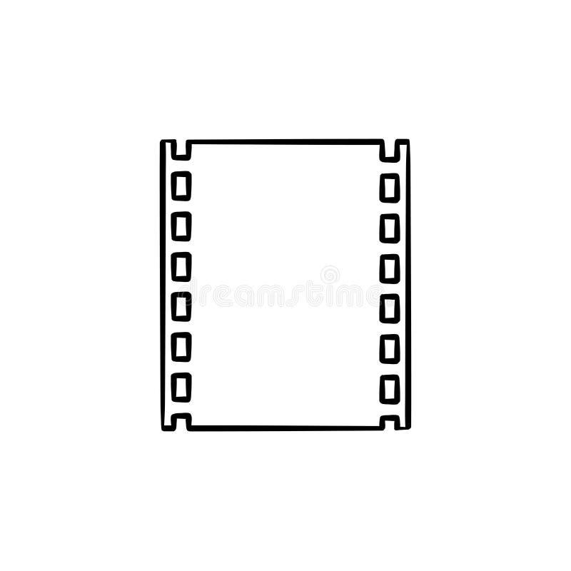 Van het cinematografie-film de krabbelpictogram strookhand getrokken overzicht royalty-vrije illustratie