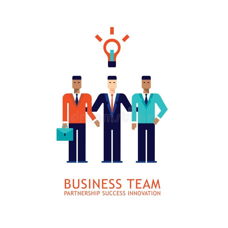 Van het commerciële van de het Groepswerksamenwerking van het zakenmanvennootschap het Succesvolle Vlakke ontwerp teamconcept royalty-vrije illustratie