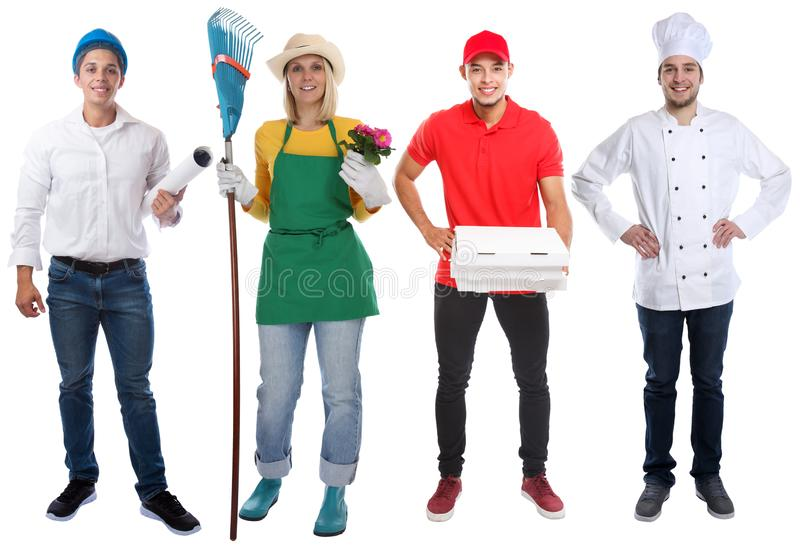 Van het commerciële van de jongerenberoepen van het onderwijsberoep de volledige die carrière lichaamsportret op wit wordt geïsol stock afbeeldingen