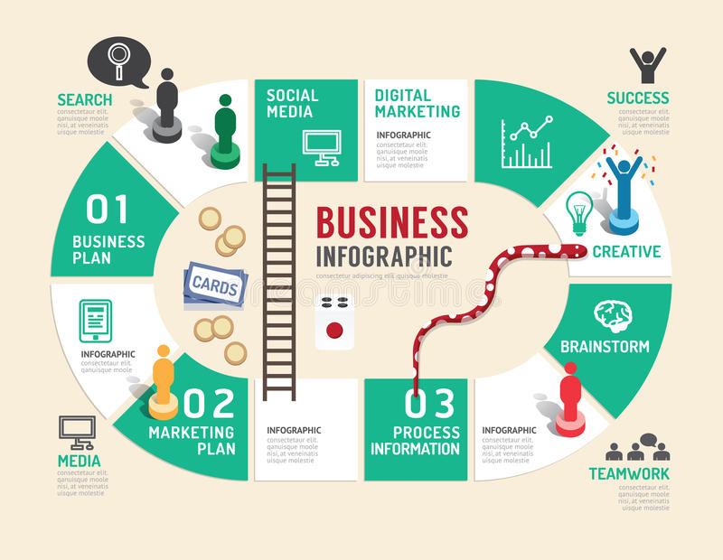 Van het commerciële het concepten infographic stap raadsspel aan succesvol