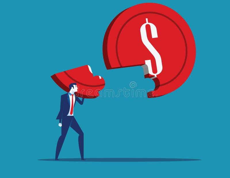 Van het commerciële het het op te lossen raadsel en succes holdingsmuntstuk Concepten bedrijfs vectorillustratie royalty-vrije illustratie