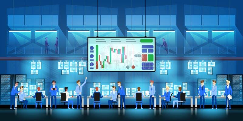 Van het commerciële het succesconcept teamwerk Online handel drijvend Makelarij die op de beursvector handel drijven in vlak stij royalty-vrije illustratie