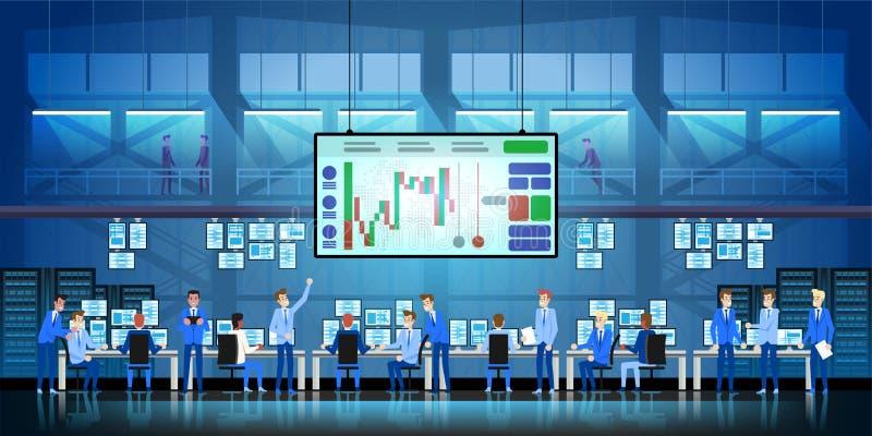 Van het commerciële het succesconcept teamwerk Online handel drijvend Makelarij die op de beursvector handel drijven in vlak stij vector illustratie