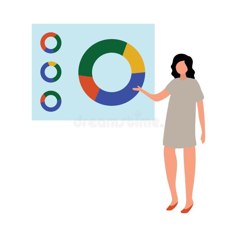 Van het commerciële toont de collectieve de vrouwenmanager vergaderingsbureau cirkeldiagram royalty-vrije illustratie