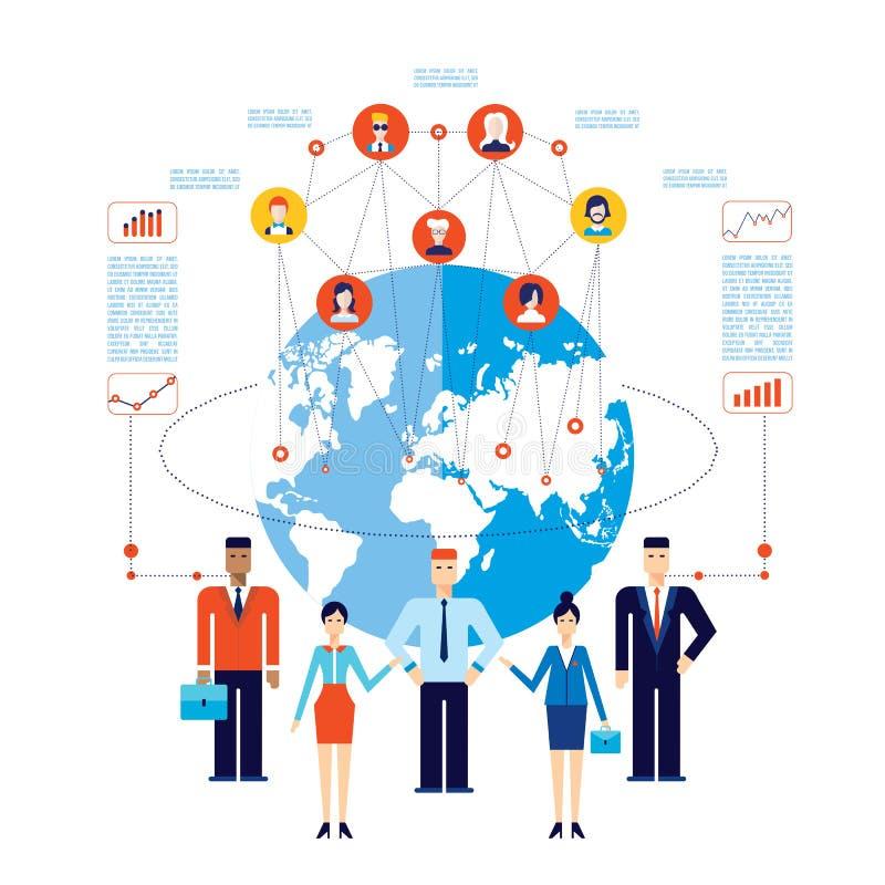 Van het commerciële van het vennootschapgroepswerk Succesvol globaal Communicatie team Sociaal netwerk concept royalty-vrije illustratie