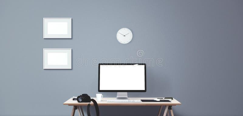 Van het computervertoning en bureau hulpmiddelen het bureaucomputerscherm vector illustratie