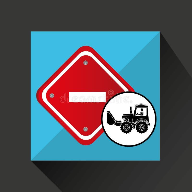 Van het conceptenverkeersteken van de bouwvrachtwagen het eindeontwerp royalty-vrije illustratie