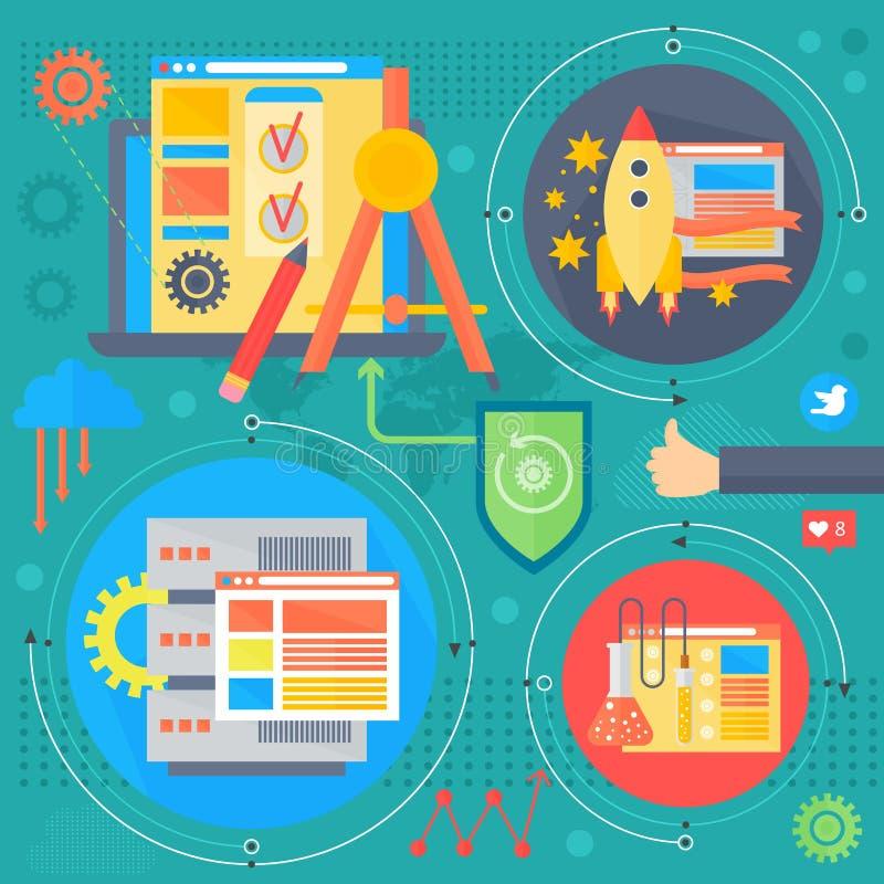 Van het conceptontwerpinfographics van SEO en van de ontwikkeling de het malplaatjepictogrammen in cirkels ontwerpen, het Webelem stock illustratie