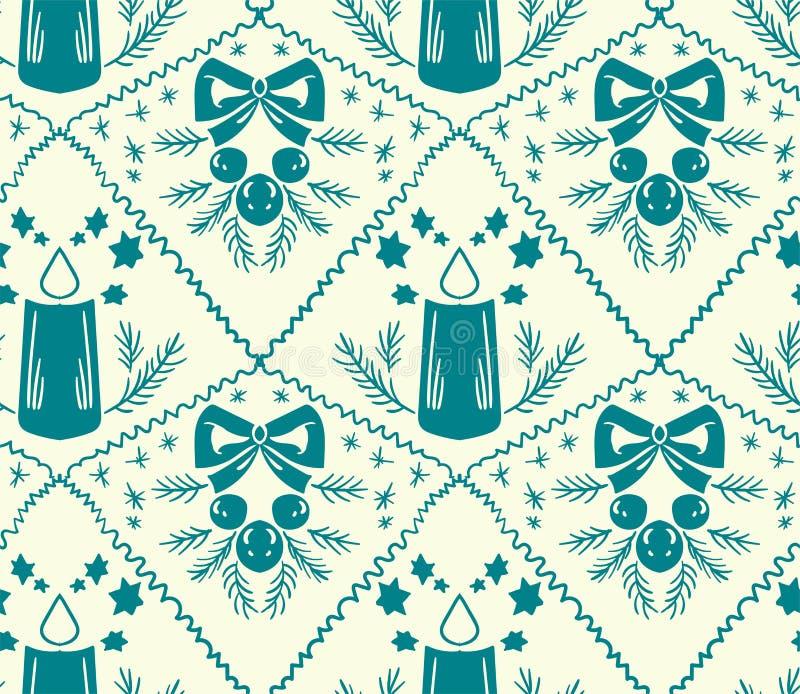 Van het het damastpatroon van de Kerstmiskaars het vector naadloze wit royalty-vrije illustratie