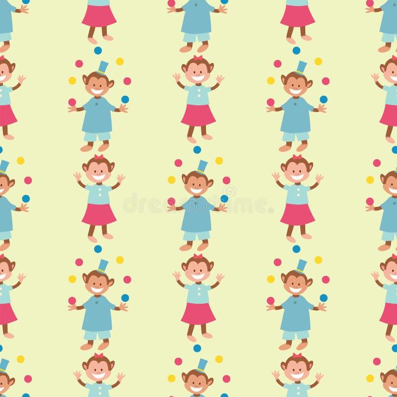 Van het de aap dierlijke vector naadloze patroon van circus grappige prestaties juggler van het de dierentuinvermaak vrolijke tov stock illustratie