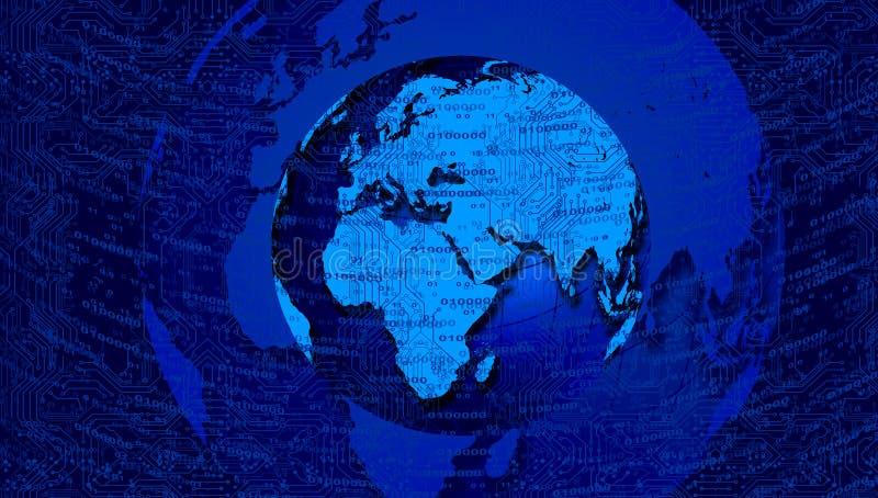 Van het de aardenetwerk van de wereldbol de technologie geweven achtergrond Technologiemededeling royalty-vrije illustratie