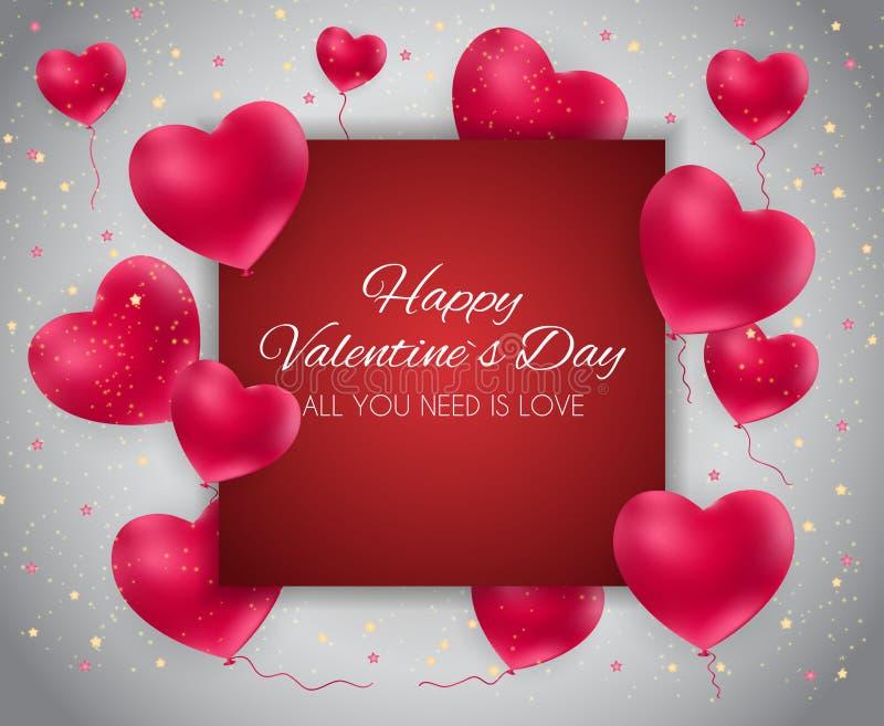 Van het de Achtergrond daghart van Valentine ` s de Liefde en het Gevoels Ontwerp Vector illustratie stock illustratie