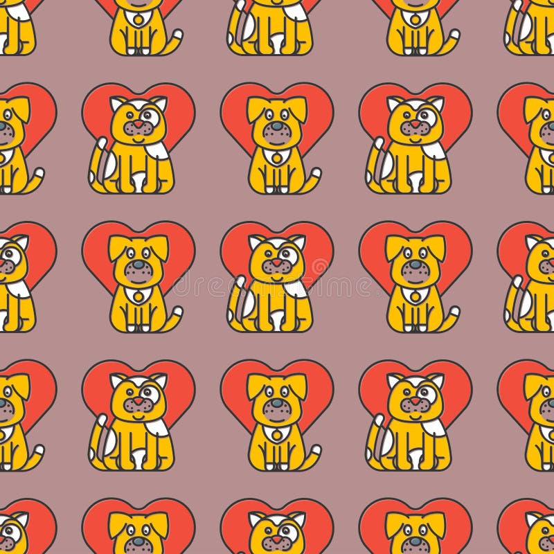 Van het de achtergrond illustratie leuk dierlijk grappig naadloos patroon van kattenharten vectorkarakters katachtig binnenlands  stock illustratie