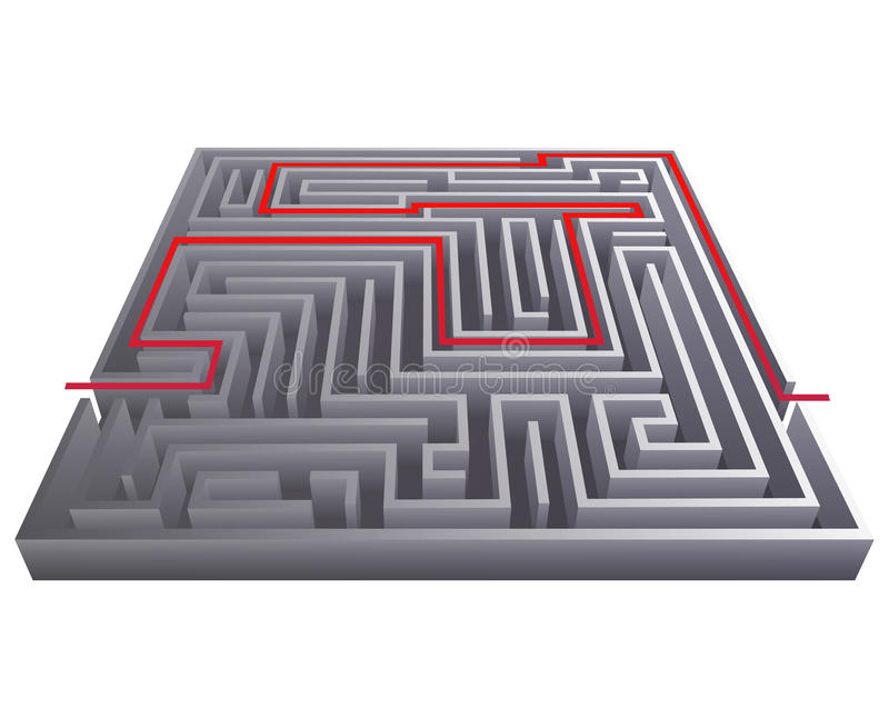 Van het de achtergrond ingewikkeldheidslabyrint van de manierpas het labyrint van het de isometrische vectorillustratie 3d ontwer stock illustratie