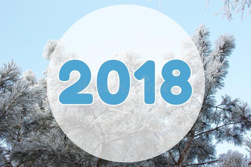 van het de achtergrond winterlandschap van 2018 kaart op pastelkleur blauwe kleuren stock afbeelding