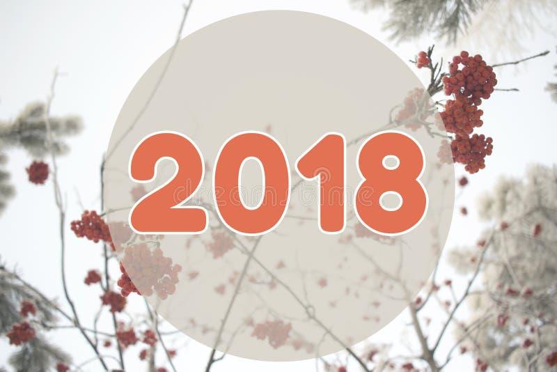 van het de achtergrond winterlandschap van 2018 kaart op pastelkleur oranje kleuren stock fotografie