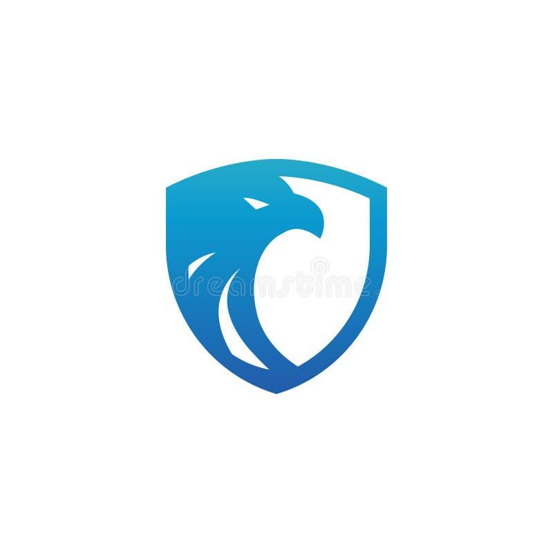 Van het de adelaarsembleem van het veiligheidsschild blauw het ontwerpmalplaatje stock illustratie