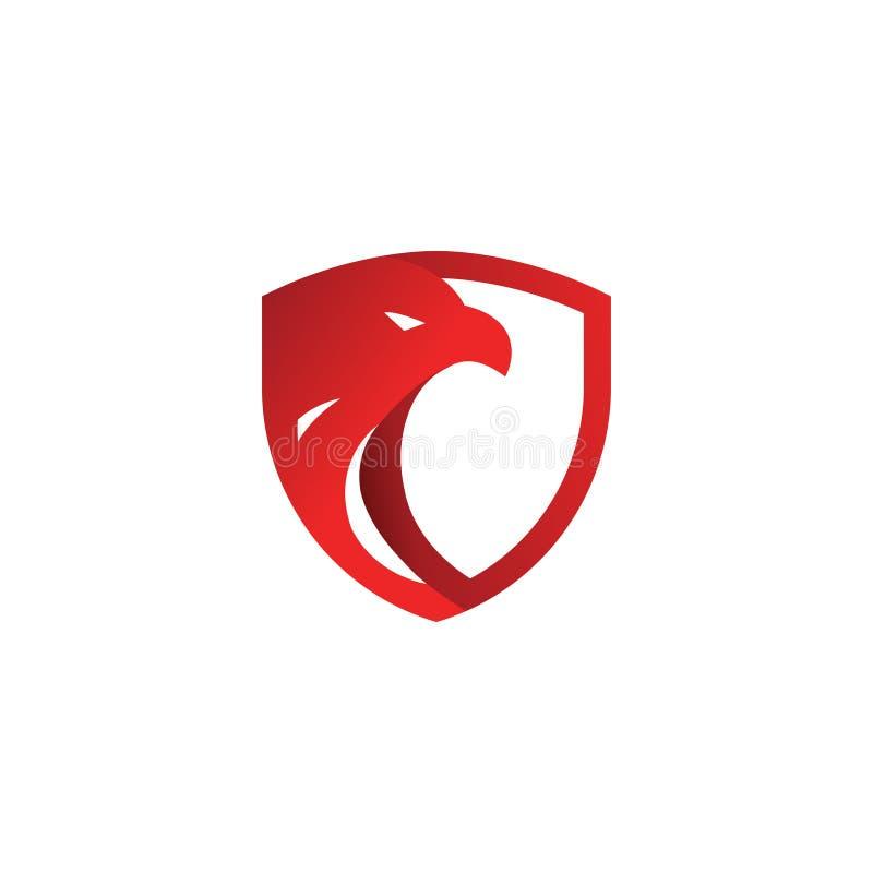 Van het de adelaarsembleem van het veiligheidsschild rood het ontwerpmalplaatje royalty-vrije illustratie