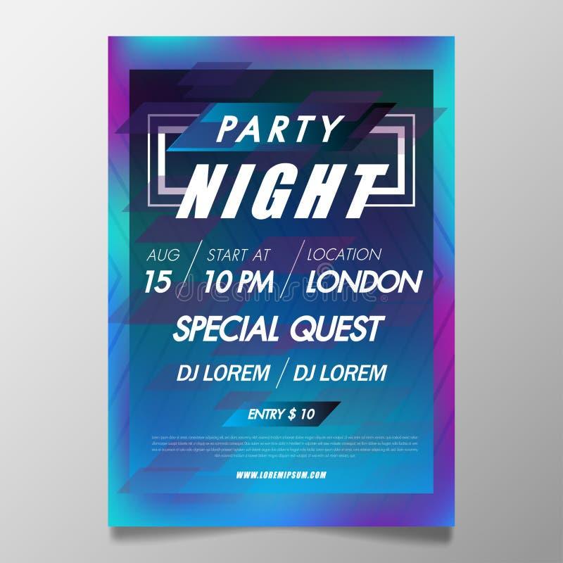 Van het de affichemalplaatje van het muziekfestival van de de nachtclub de partijvlieger met achtergrond van kleurrijk met de abs stock illustratie