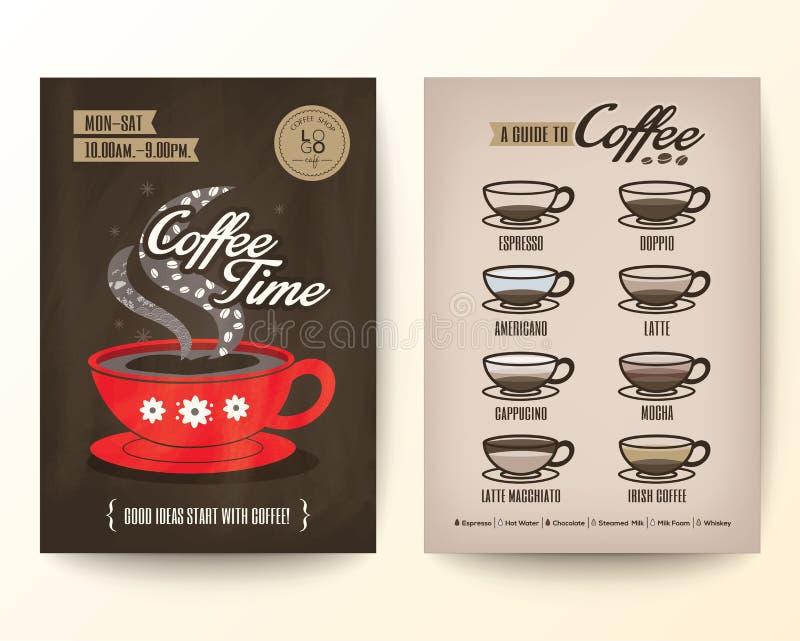 Van het de Afficheontwerp van de brochurevlieger het malplaatjelay-out met type van koffie stock illustratie