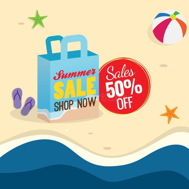 50% van van het de afficheontwerp van de de zomerverkoop de vectorillustratie het winkelen zakpictogram met tekstlabel en de acht vector illustratie