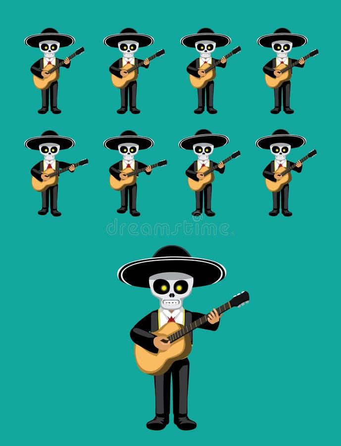 Van het de Animatie Leuke Beeldverhaal van Dia de Los Muertos Guitar de Speel Vectorillustratie stock illustratie