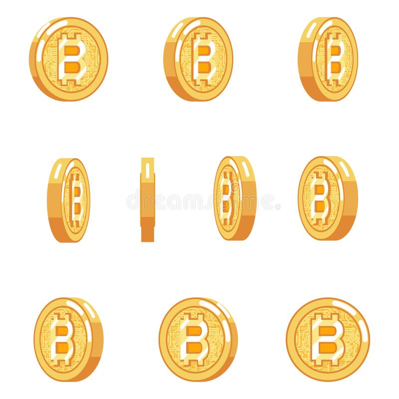 Van het de animatiemuntstuk van de Bitcoinomwenteling van het de technologie isoleerde de digitale geld munt van Internet pictogr vector illustratie