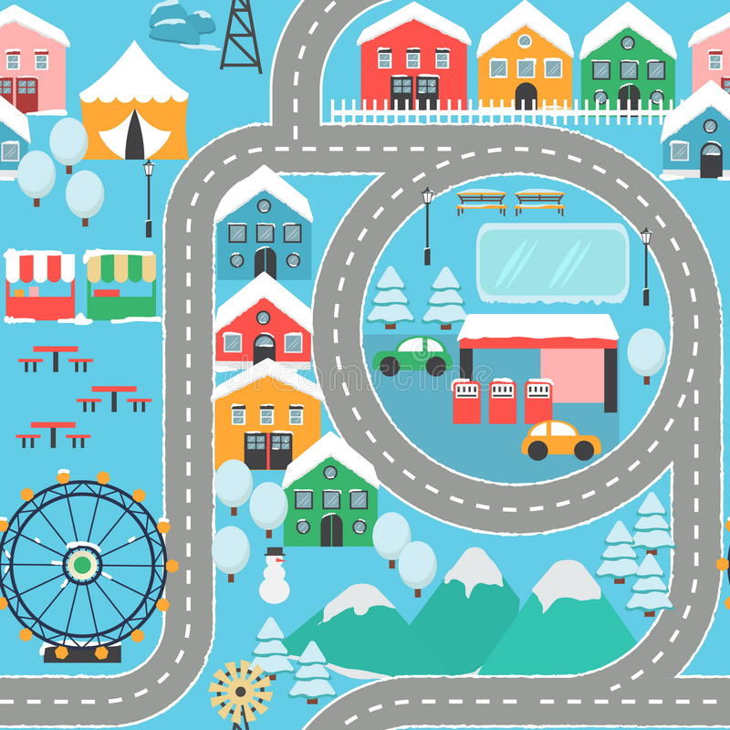 Van het de autospoor van de de winter het sneeuwstad naadloze patroon stock illustratie