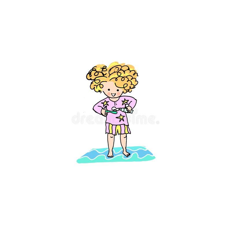 Van het de babymeisje van de jonge geitjesgember van het de activiteitenkarwei dagelijkse routine het beeldverhaalillustratie royalty-vrije illustratie