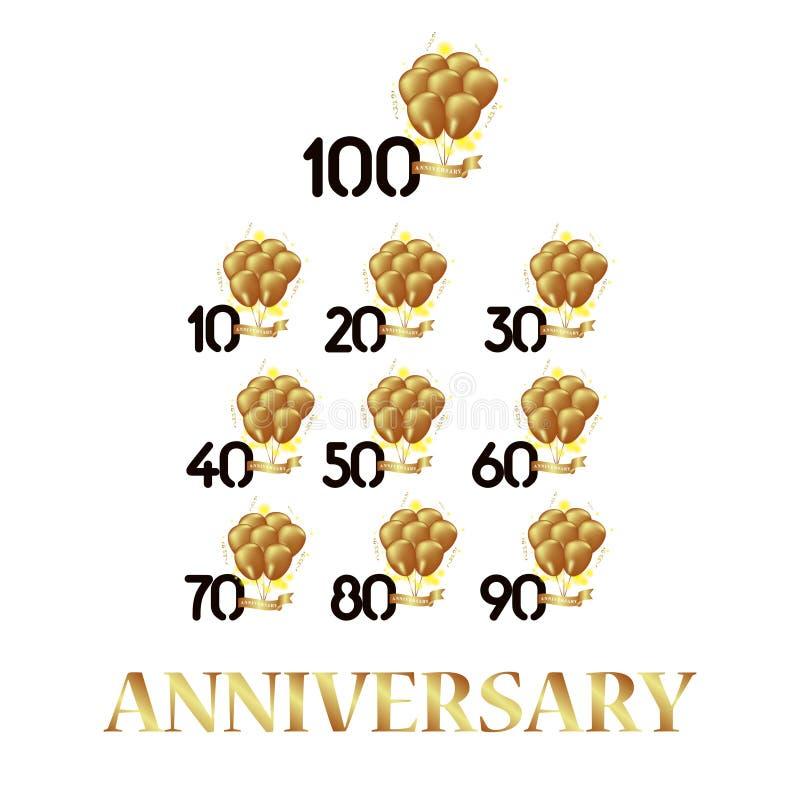 Van het de Ballon Vectormalplaatje van de jaarverjaardag Zwarte Gouden Vastgestelde het Ontwerpillustratie vector illustratie
