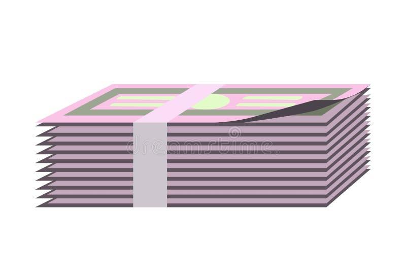 Van het de bankbiljettenpapiergeld van de bankbiljettenbundel het contante geldpak geïsoleerd vector vlak pictogram royalty-vrije illustratie