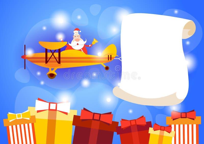 Van het de Bannerexemplaar van Santa Clause Flying Airplane Carrying Lege Ruimte het Nieuwjaarviering stock illustratie