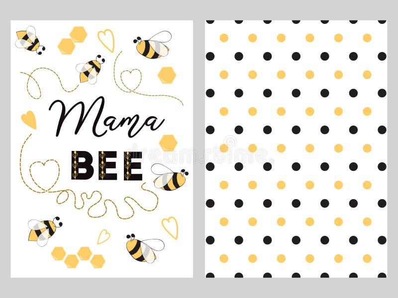 Van het de bannerontwerp van de Mothesdag de bij van het de tekstmamma verfraaide van de honings zoete Plka van het bijenhart de  royalty-vrije illustratie