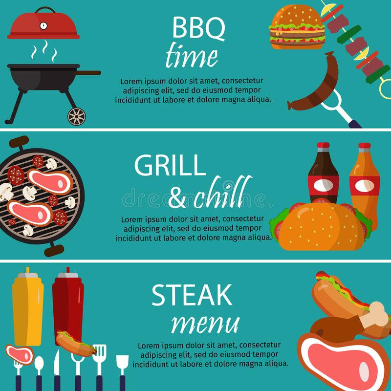 Van het de bannersvoedsel van de barbecuegrill de vectorillustratie royalty-vrije stock foto's