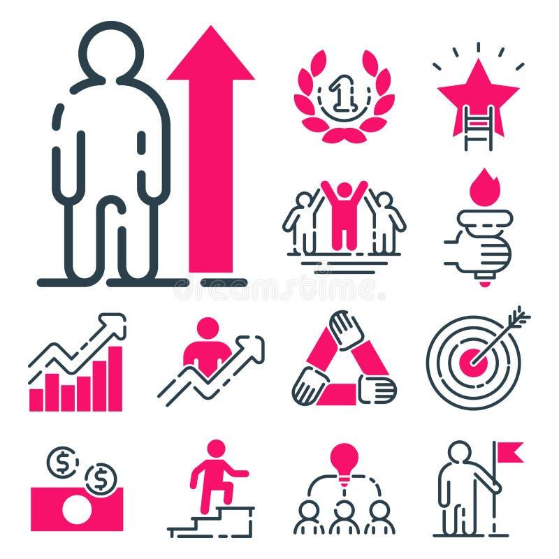 Van het de bedrijfs grafiek het roze pictogram van het motivatieconcept ontwerp van de strategieontwikkeling en de het groepswerk vector illustratie