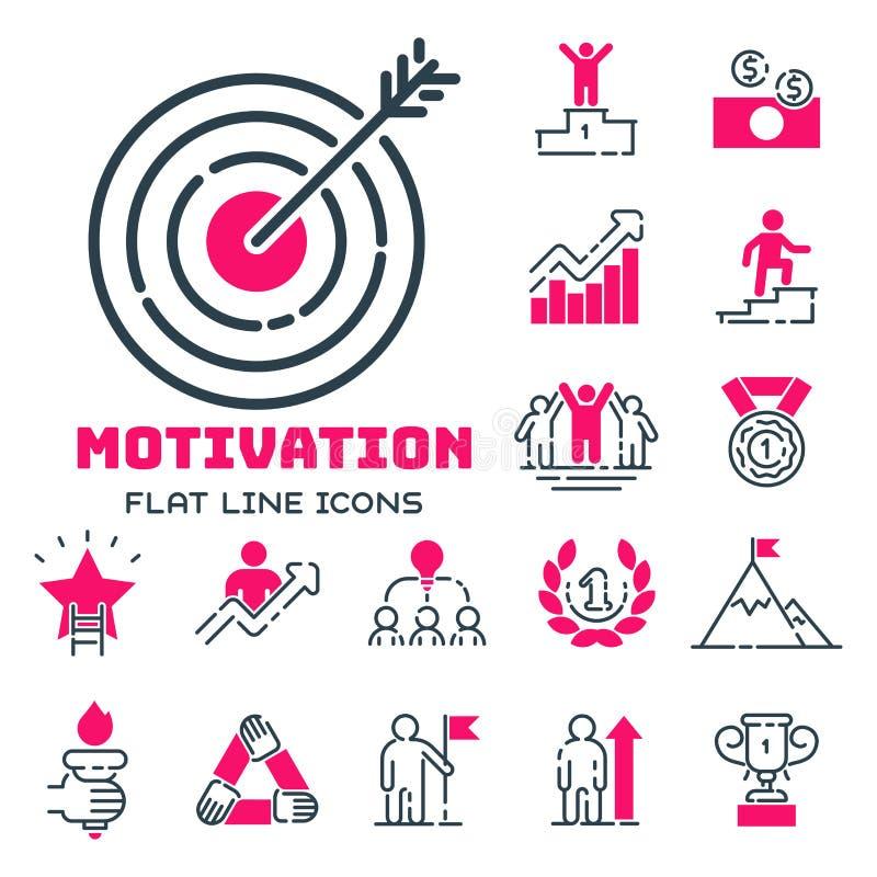 Van het de bedrijfs grafiek het roze pictogram van het motivatieconcept ontwerp van de strategieontwikkeling en de het groepswerk royalty-vrije illustratie