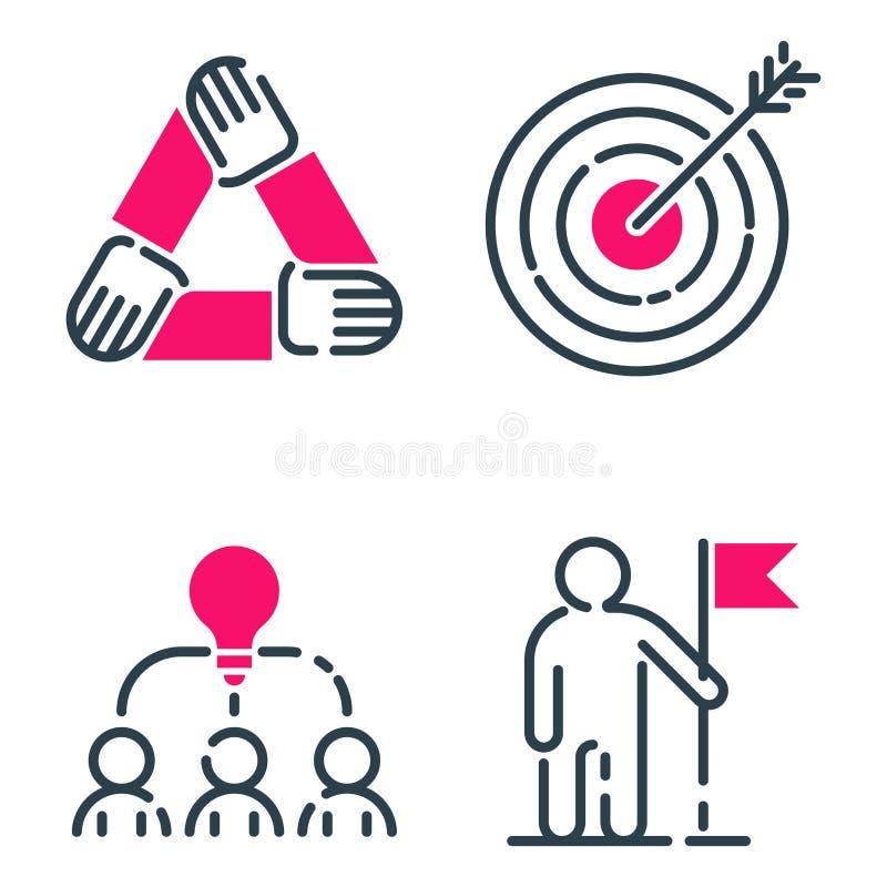 Van het de bedrijfs grafiek het roze pictogram van het motivatieconcept ontwerp van de strategieontwikkeling en de het groepswerk stock illustratie