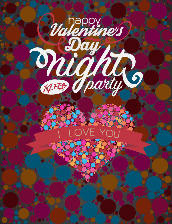 Van het de bellenhert van de valentijnskaartendag volledig de kleurenontwerp vector illustratie