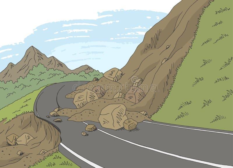 Van het de bergenlandschap van de grondverschuivings de grafische kleur vector van de de schetsillustratie royalty-vrije illustratie