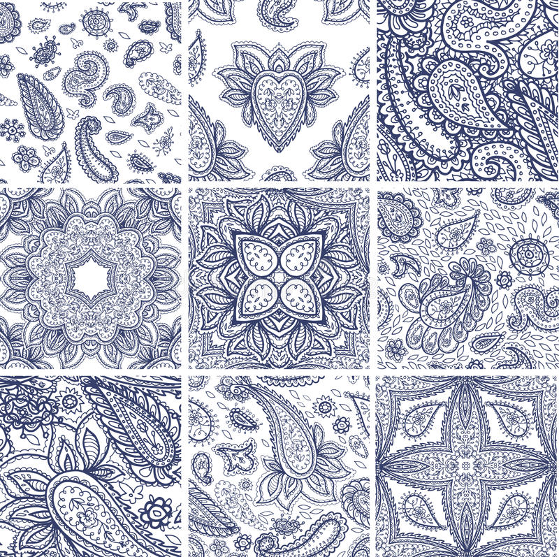 Van het de bloemmalplaatje van hennamehndi vector naadloze het patroonillustratie stock illustratie